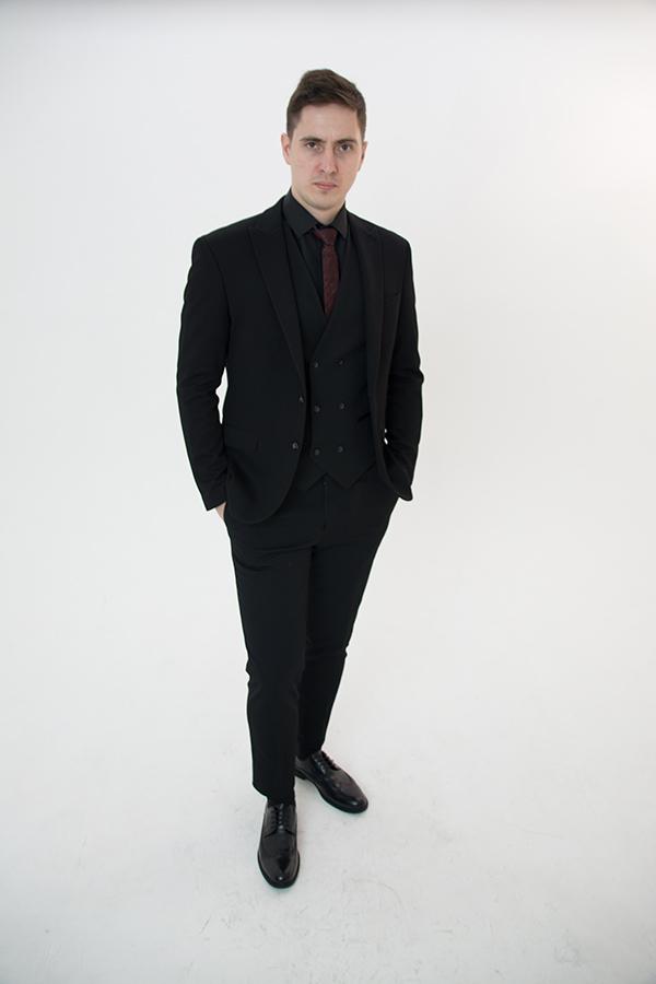 Черный костюм-тройка «Belfor»