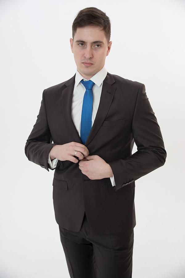 Коричневый костюм «Slim»